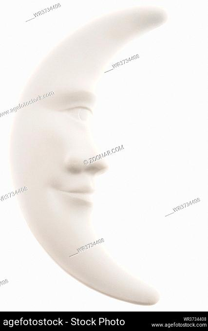 Lunar month, a figurine of white clay, isolated on white background