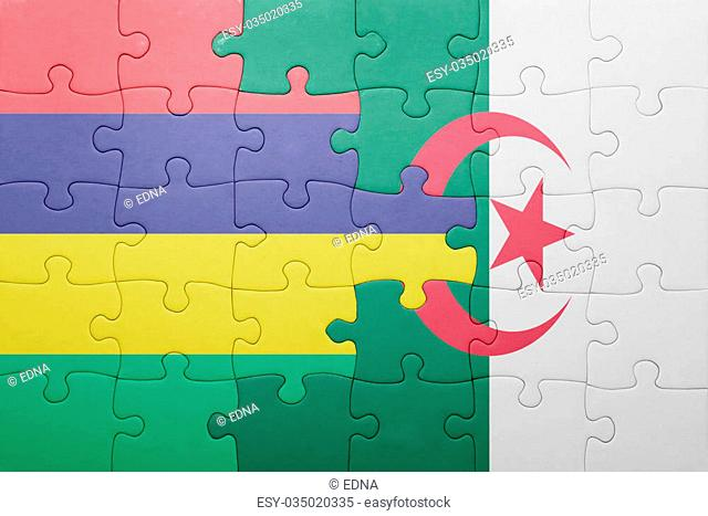 puzzle with the national flag of algeria and mauritius . concept