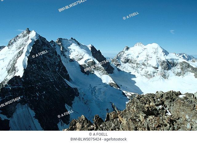 view from Piz Morteratsch on Piz Bernina and Piz Roseg, Switzerland