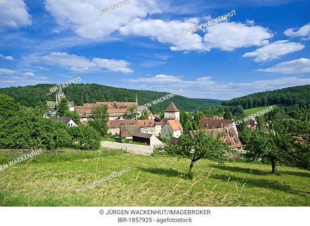 Village view with castle and monastery, Bebenhausen, Tuebingen, Swabian Alb, Baden-Wuerttemberg, Germany, Europe