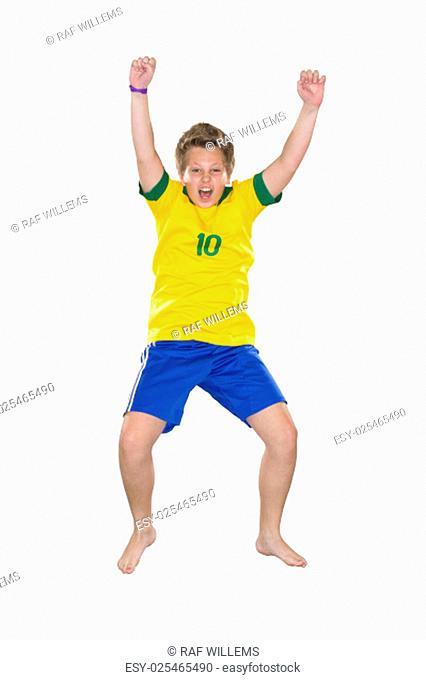 Brazilian Boy, jumping, yellow and blue