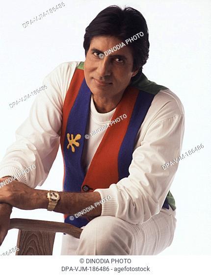 1988, India, Portrait of Amitabh Bachchan smiling