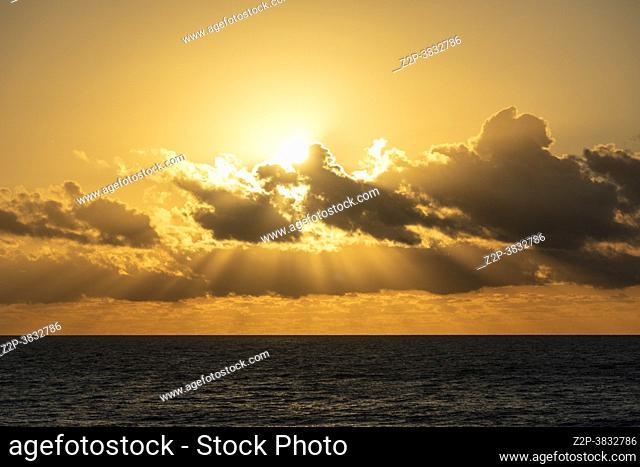 Carboneras Almeria Andalusia Spain El Dorado beach by sunrise. Cabo de Gata natural park