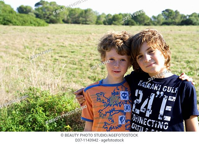 Two boys on a countryside trip