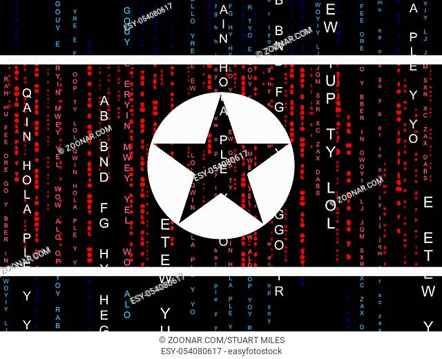 Military Cyber Hacking From North Koreans 3d Illustration. Shows Attack By North Korea And Confrontation Or Online Cybercrime Security Virus Vs America