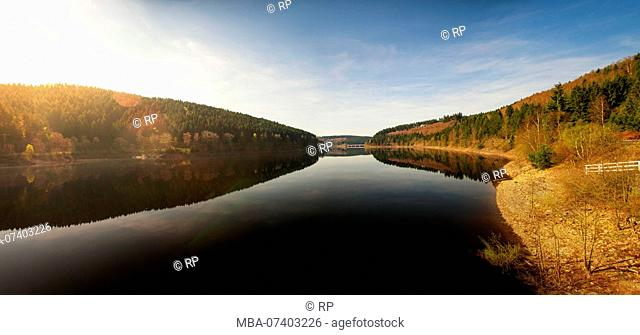 Panorama view of a mountain lake in the morning. Okertalsperre, Okerstausee, National Park Harz in Germany