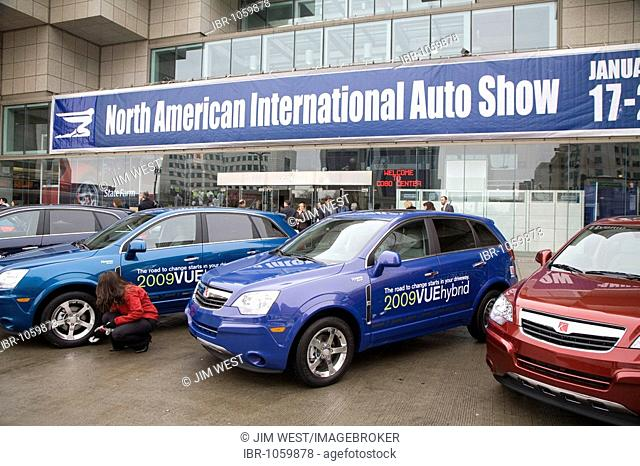 The Saturn Vue hybrid gas-electric car outside the North American International Auto Show, Detroit, Michigan, USA