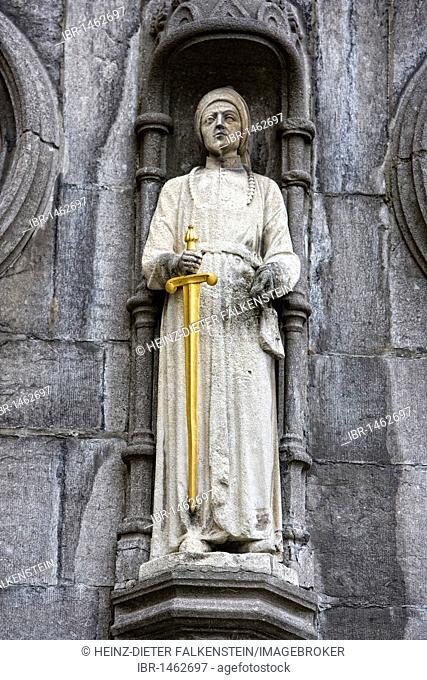 Figures on the Basilica of the Holy Blood, Burgplein, Bruges in West Flanders, Belgium, Europe