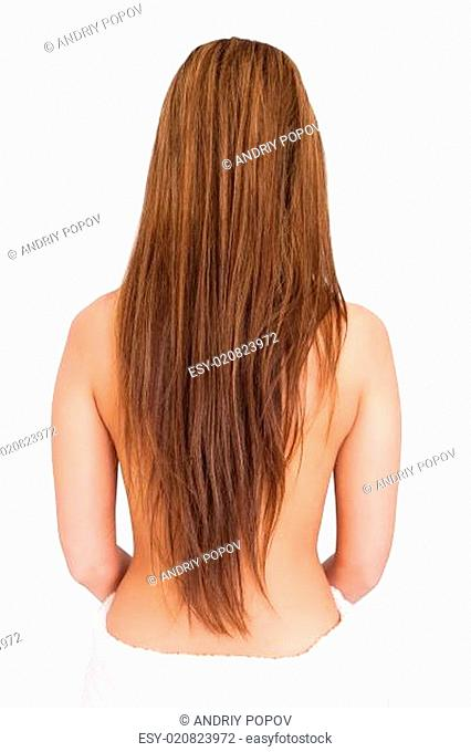 Woman In Towel With Long Brunette Hair Isolated Over White Background