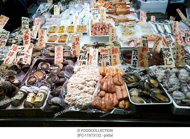 Shellfish at the Nishiki market in Kyoto, Japan