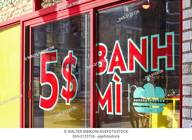 Canada, Quebec, Montreal, St-Laurent Street, sign for Five Dollar Vietnamese Banh-Mi sandwiches