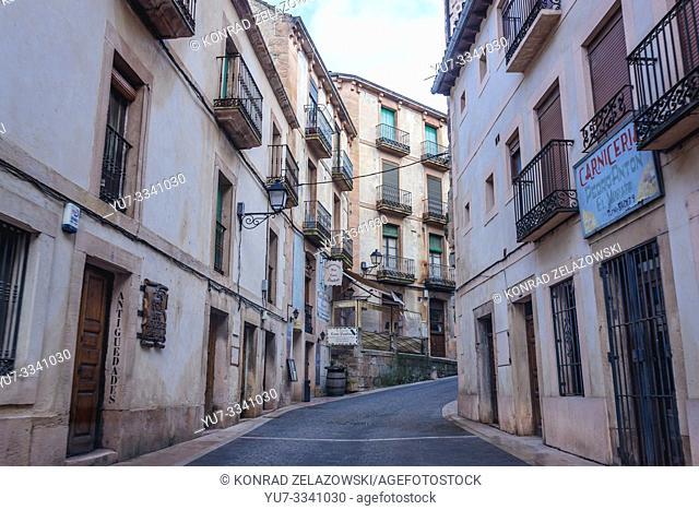 Calle la Barbacana street with Casa Paulino restaurant in Sepulveda town in Province of Segovia, Castile and Leon autonomous community in Spain