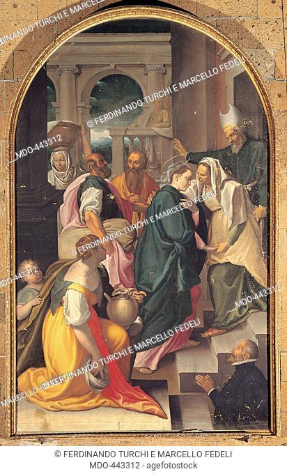 The Visitation, by Nebbia Cesare, 16th Century, oil on board. Italy, Umbria, Orvieto, Terni, San Domenico Church. All. Visitation Mary Virgin Elisabeth meeting...
