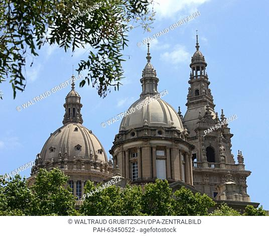 The domes of the national palace on Montjuic in Barcelona, Spain, 24 July 2015. Catalonia, of which Barcelona is the capital city