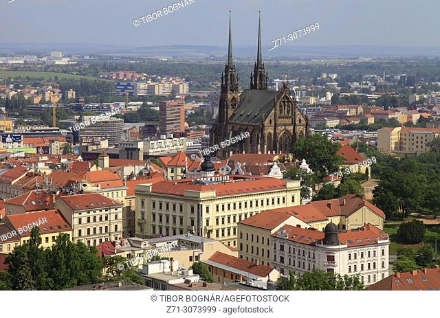 Czech Republic, Brno, skyline, general view, St Peter and St Paul Cathedral,