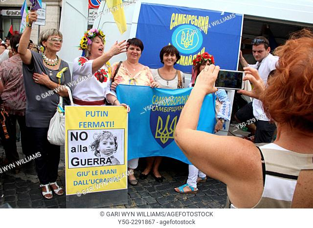 Rome, Italy 21st September 2014 - Demonstration for peace in Ukraine by the Italian based Ukranian community in Rome Italy