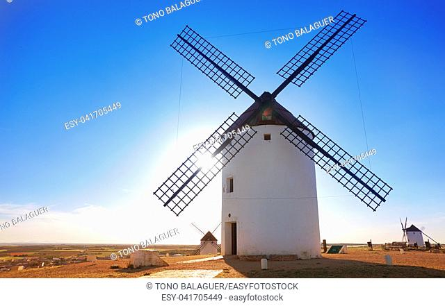 Mota del Cuervo windmills in Cuenca at Castile la Mancha of spain