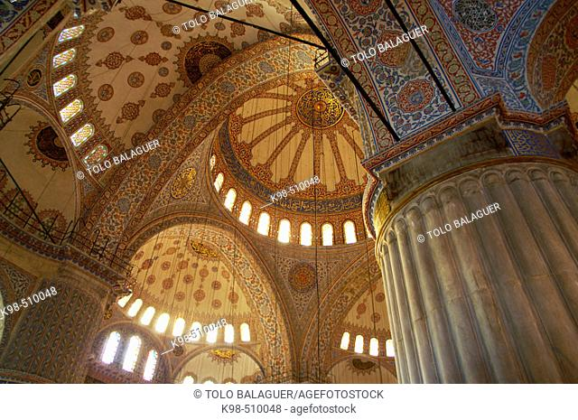 Domes of Blue Mosque (Sultan Ahmed mosque), Sultanahmet, Istanbul. Turkey