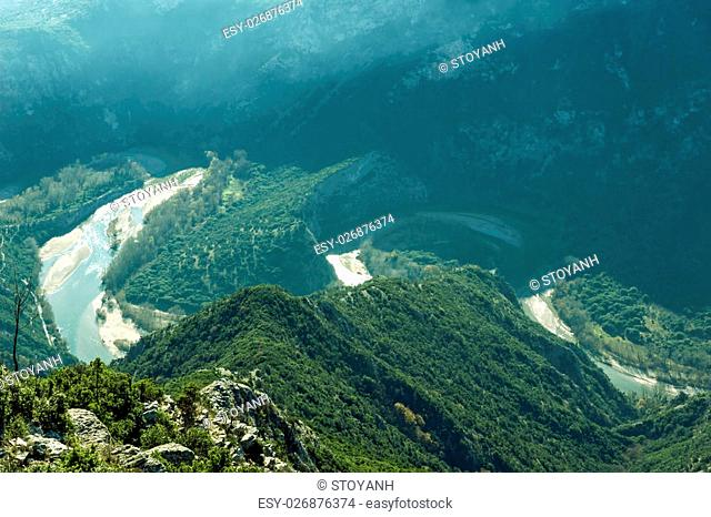 Amazing view to Meander of Nestos Gorge near town of Xanthi, East Macedonia and Thrace, Greece