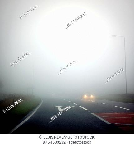 Road, map, traffic, fog