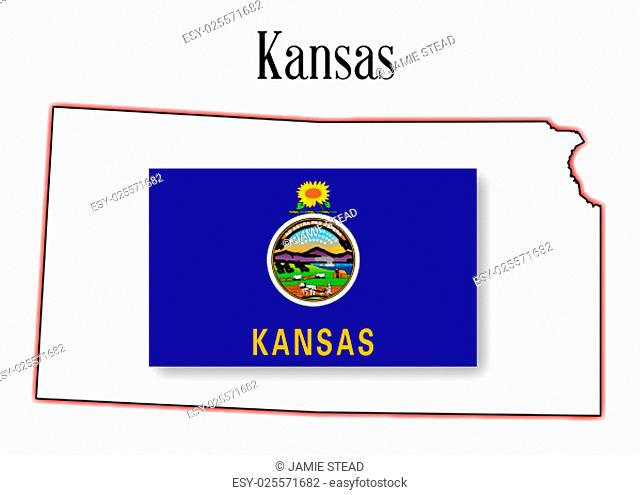 Outloine map of the state of Kansas over white with flag inset