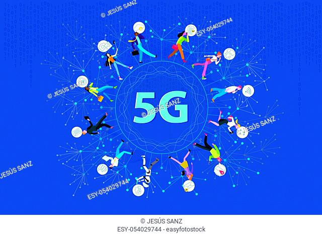 5G network wireless systems technology. Business people walking around a circle in a global network. They work in motion using their mobile devices