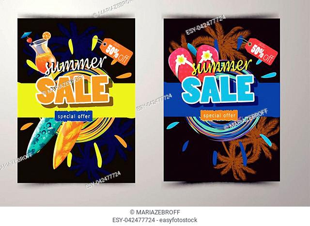 summer sale template banner big set vector illustration with sun