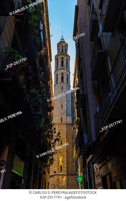 Santa Maria del Mar church in the Born district, Barcelona, Catalonia, Spain