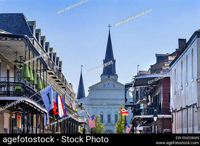 Orleans Street And Borubon Street Flags Hotels French Quarter Saint Louis Cathedral Oldest Church United States New Oreeans Louisiana