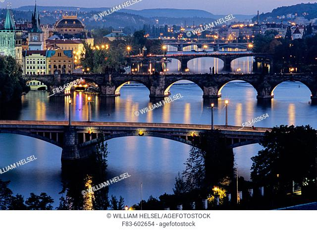 Charles Bridge (Karluv Most), Prague's most famous, was built in 1357 by Emperor Charles IV on the site of an older bridge. On the left are (L. to R