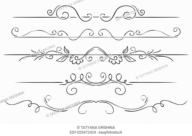 Ornate vector set of borders on a white background. Hand drawing