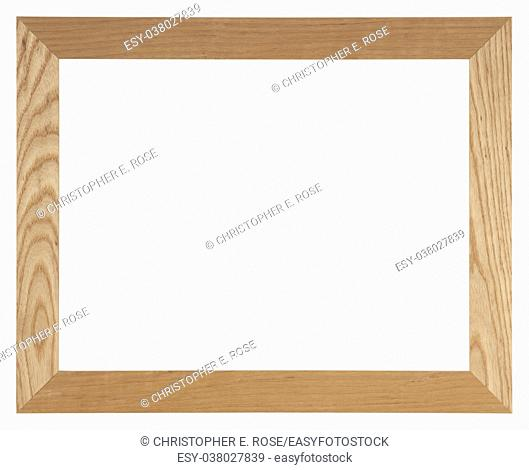 Empty picture frame isolated on white, landscape format in light oak wood