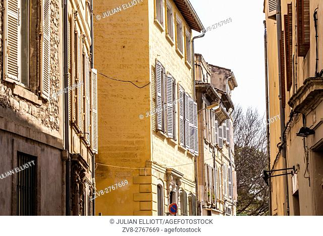 A side street in the romanesque part of Avignon, France