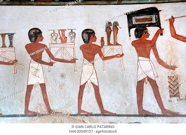 Luxor, Egypt, tomb of Menna or Menena (TT69) in the Nobles Tombs (Sheikh Abd El-Qurna necropolis): beautiful funeral scene