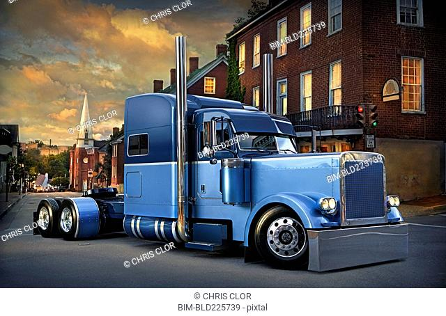 Semi-truck driving on city street