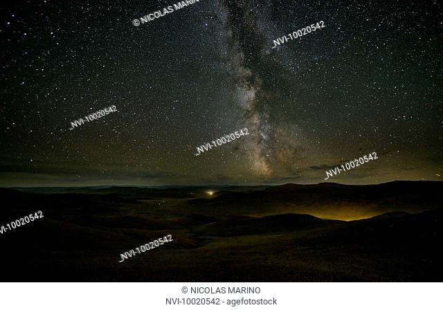 Milky way above the Mongolian steppe, Mongolia