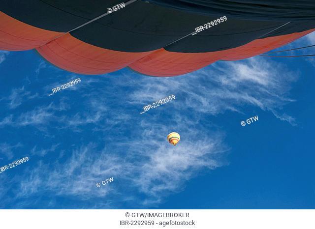 Hot air balloon in the blue sky, Cappadocia, Turkey, Asia