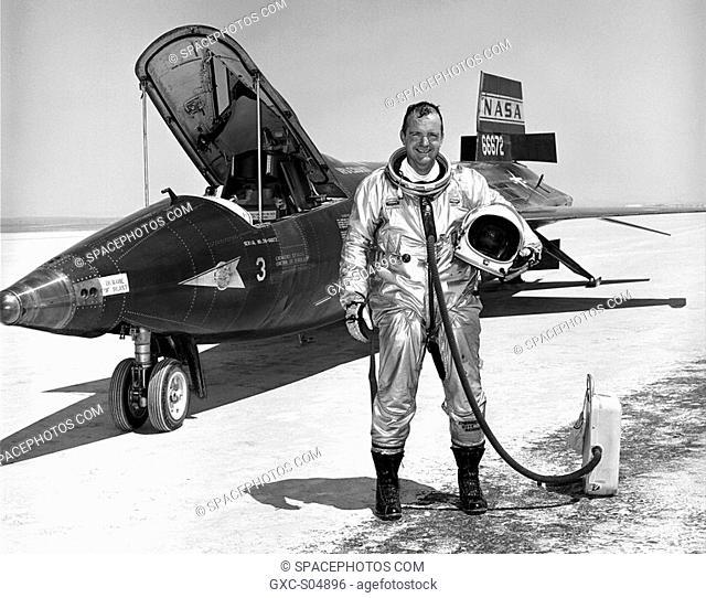 NASA research pilot Bill Dana is seen here next to the X-15 3 rocket-powered aircraft after a flight.William H. Dana is Chief Engineer at NASA's Dryden Flight...