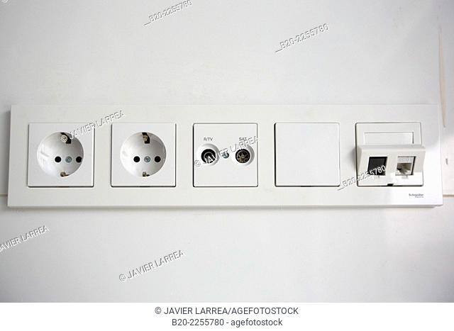 Electrical outlets, television and network. Building under construction