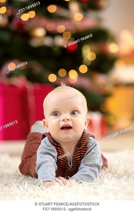 Baby boy at Christmas