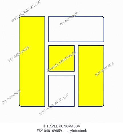 Icon of parquet plank pattern. Thin line design. Vector illustration