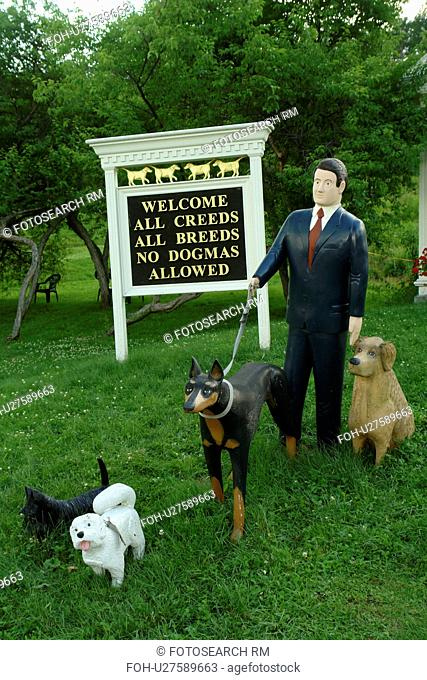 St. Johnsbury, VT, Vermont, Stephen Huneck's Dog Chapel, museum, Welcome Sign, All Creeds All Breeds