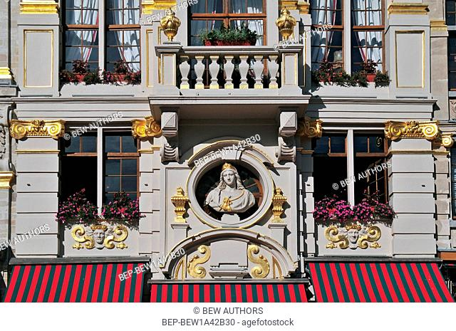 Detail of the picturesque Grand Place of Brussels in Belgium
