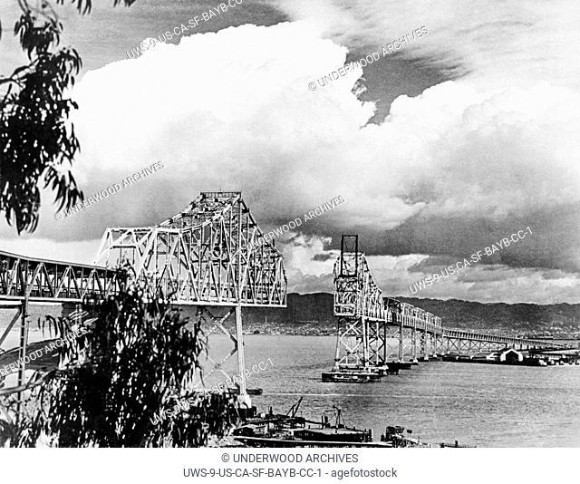 San Francisco, California: 1936 The construction of the cantilever section of the San Francisco-Oakland Bay Bridge looking towards Oakland from Yerba Buena...