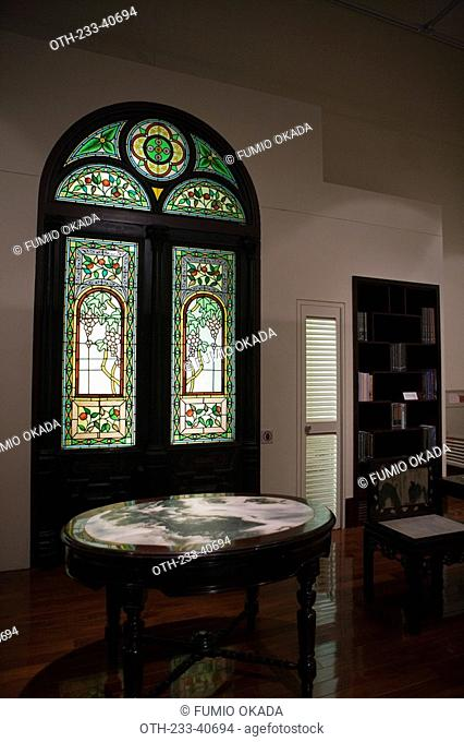 Exhibit of a designed patterned glass used for the door interior, Hong Kong Heritage Museum, Shatin, Hong Kong