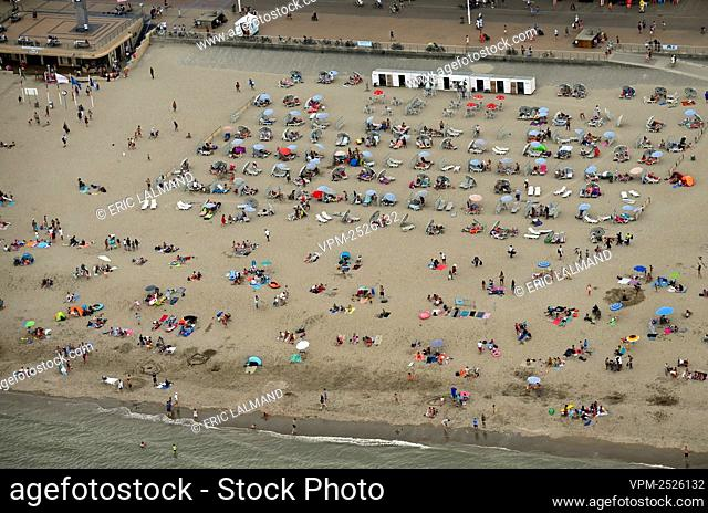 an aerial view on the beach of Sint-Idesbald taken from a helicopter, flying along the Belgian coast, Saturday 08 August 2020