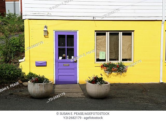 A colorful facade on a building in Shelburne Falls, Massachsuetts, United States, North America