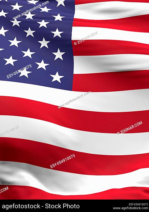 Waving flag of the United States of America, 3d rendreing