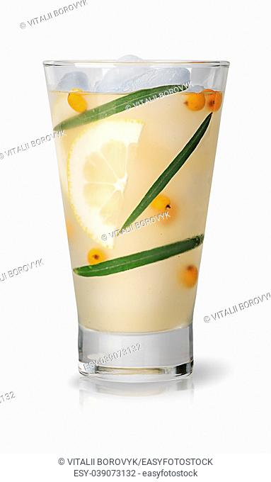 Lemonade with sea buckthorn and lemon. Ice cubes in a glass covered with dew. Isolated on white background