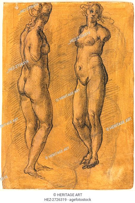 Copy of an Antique Statue of a Standing Woman (two views), over a Sketch of a Putto, 1570s. Creator: Jacopo Chimenti (Italian, c. 1554-1640)